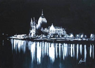 Budapest éjjel (Pasztell, 50x65 cm) / Budapest at night (Pastel, 50x65 cm)