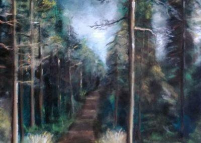 Fenyőerdő ( Pasztell 65x50 cm) /  Pine forest (Pastel, 65x50 cm)