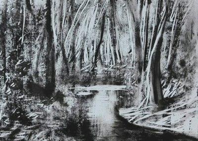 Erdőrészlet ( Linómetszet, 20x25 cm ) / Forest ( Linocut 20x25 cm)