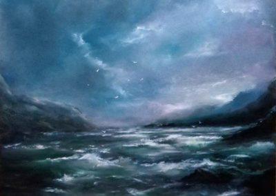 Tajtékos tenger ( Olaj, 40x50 cm) /  Wavy sea (Oil, 40x50 cm)